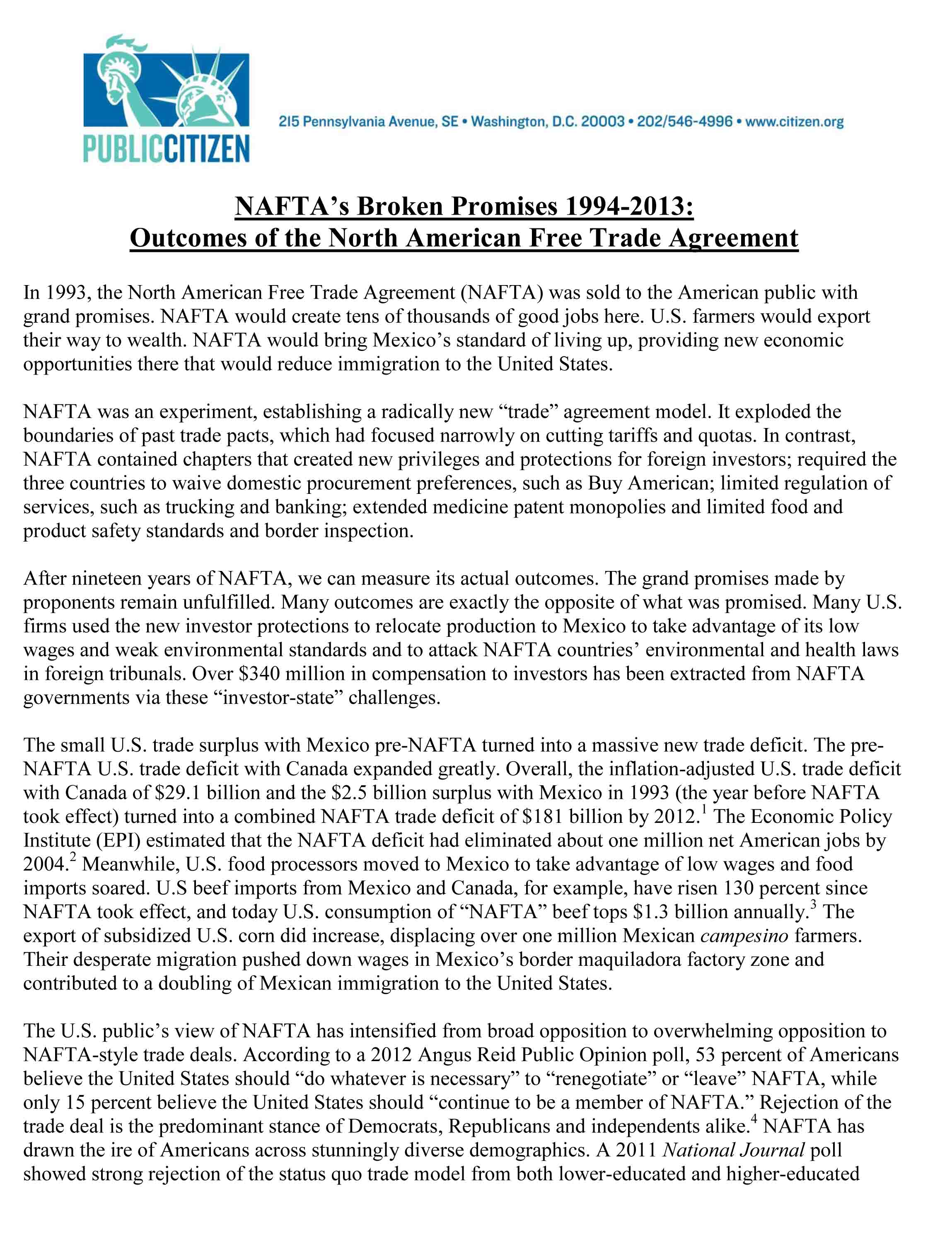 NAFTA Facts